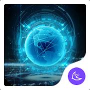 Blue Neon Future Tech -- APUS launcher theme APK