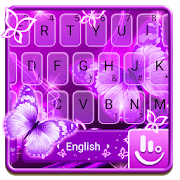Neon Purple Butterfly Keyboard Theme APK