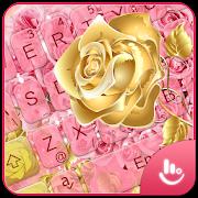 Flower Heart Pink Rose Gold Keyboard Theme APK