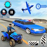 US Police limousine Car Quad Bike Transporter Game APK