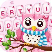 Pink Cute Owl Keyboard Theme APK