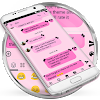 SMS Messages Ribbon Pink Black Theme APK