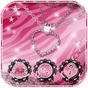 Pink Zebra Diamond Jewelry Theme APK