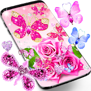 Diamond butterfly pink live wallpaper APK
