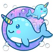 Lovely Unicorn Blue Whales Keyboard APK