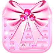 Pink SMS Keyboard Theme Diamond Ribbon APK