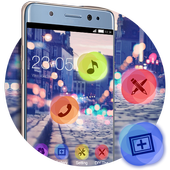 Stylish Romantic Theme: Neon Night Street Launcher