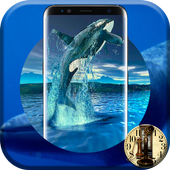 Blue Whale Crazy Analog Digital Android Clock 2017