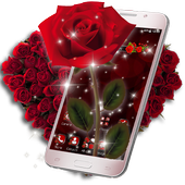 3D Love Red Rose Glitter Theme For PC