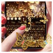 Gold Glitter Butterfly Keyboard  APK 10001003