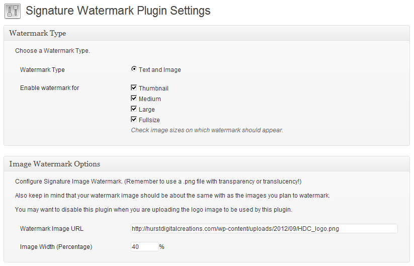 WordPress Plugin Signature Watermark Settings
