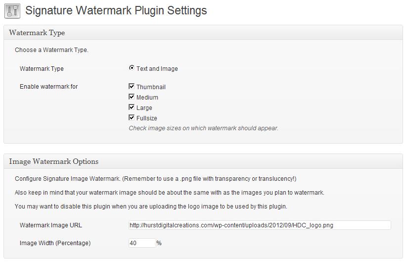 WordPress Plugin Signature Watermark Settings