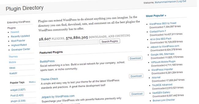 WordPress like Plugins directory