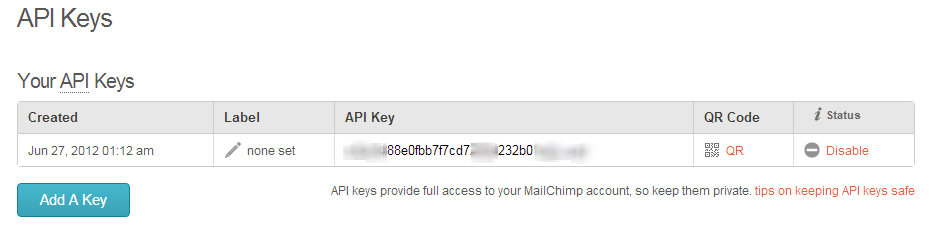 API Keys and Info   MailChimp