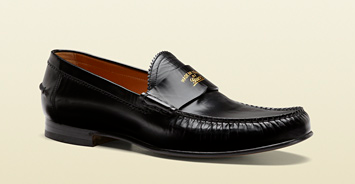 Black Leather College Moccasin by Gucci