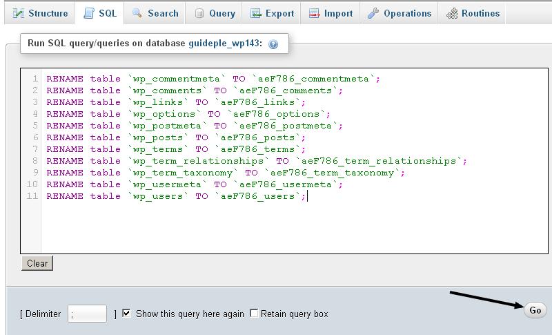 Changing WordPress Database Prefix from PhpMyAdmin