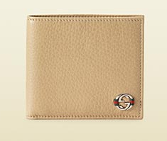 Cream Leather Coin Wallet with Interlocking by Gucci