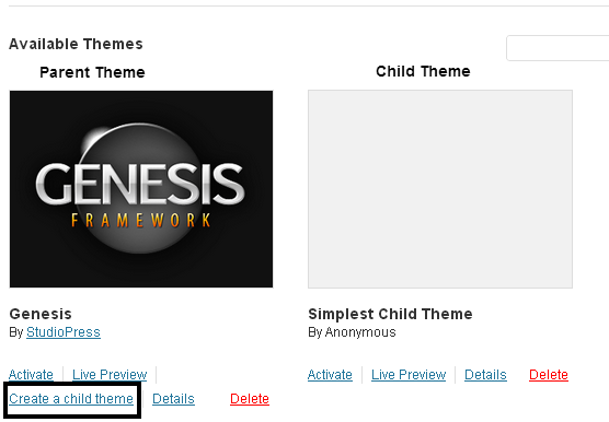 Create a Genesis Child Theme
