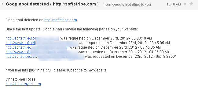 Email from Google Bot Bling