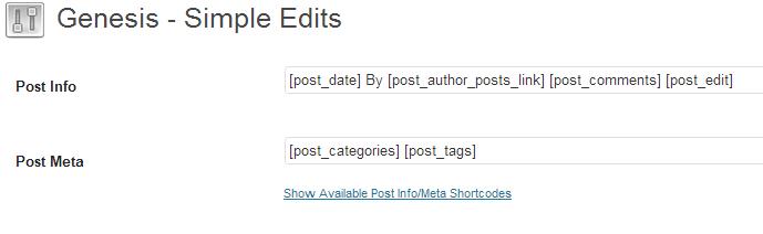 Genesis Simple Edits settings page