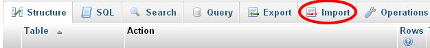 Importing sql file into database using phpmyadmin