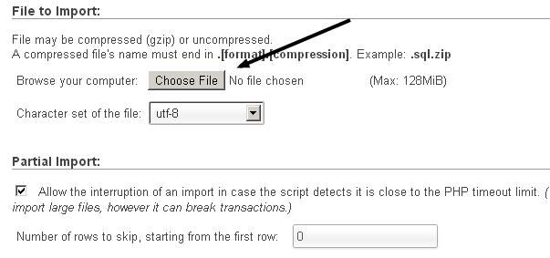 Sql File import using phpmyadmin