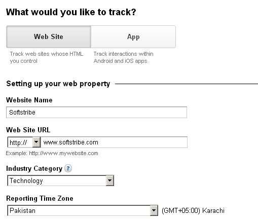 Filling out the Google Analytics form