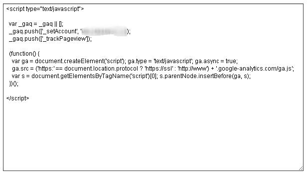 Java Script code provided by Google Analytics