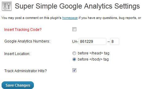 Super Simple Google Analytics Settings