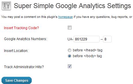 Super Simple Google Analytics Settings
