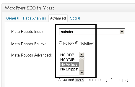 using noindex and nofollow meta robots with yoast seo plugin