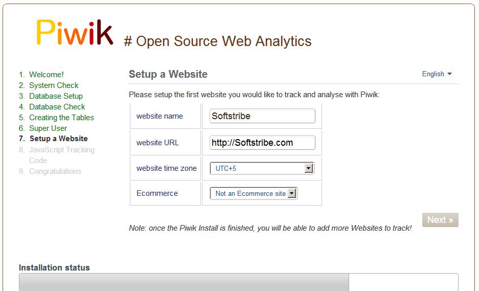 Adding website into piwik