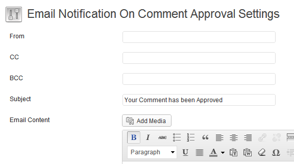 Comment Notificatin WordPress Plugin