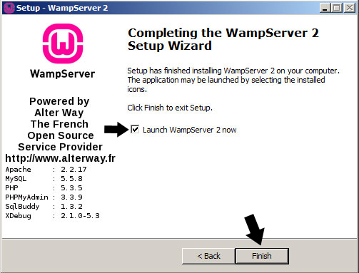Completing the WampServer 2 Setup Wizard