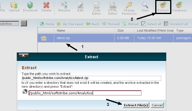 Exacting the piwik using cpanel