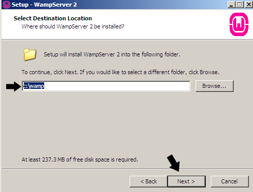 Installing WampServer inside of C Folder