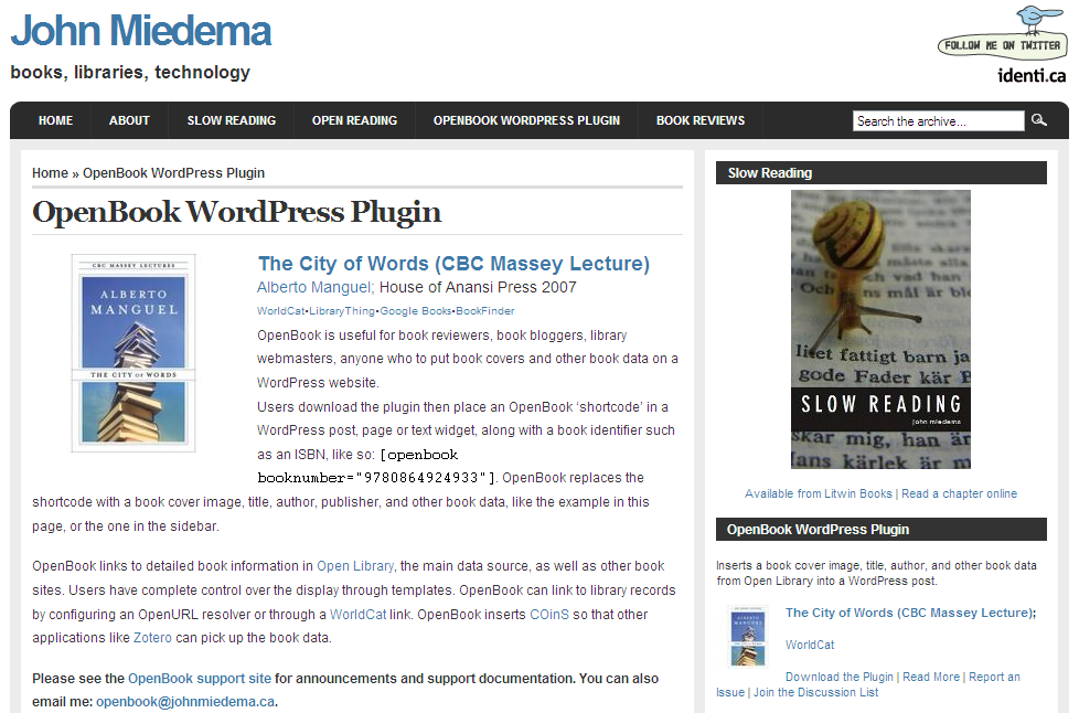 Open book Data WordPress Plugin