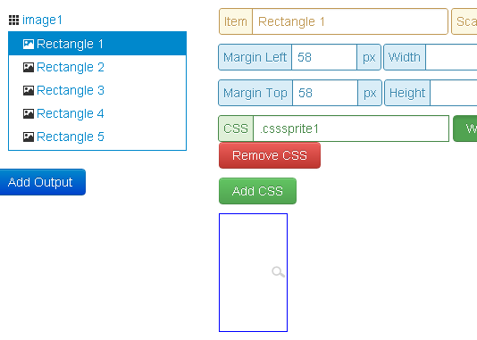 Output the css styles in CSS Sprites online