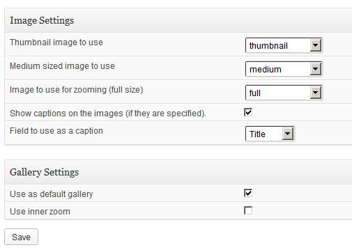 Super zoom gallery WordPress Plugin Options