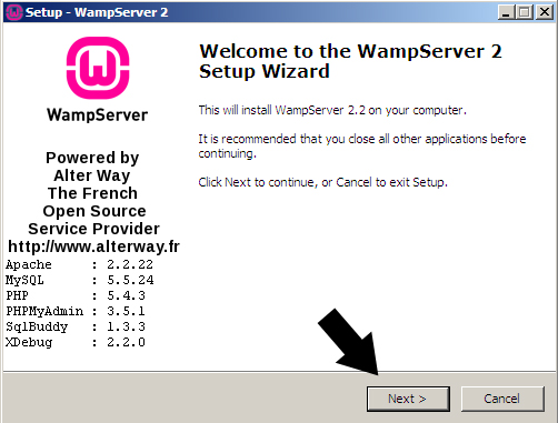 Welcome WampServer Setup