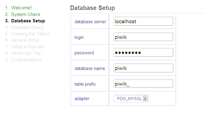 create user and a databse for piwik database setup