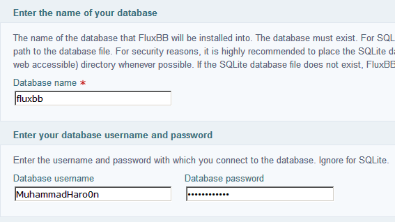 creating database for FluxBB Installation
