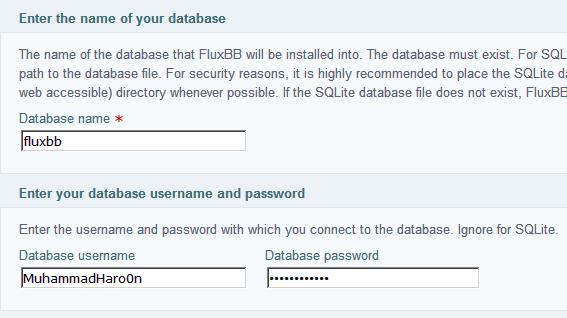 creating database for FluxBB Installation