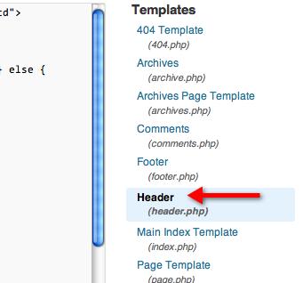 edit themes header php
