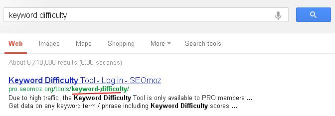 keyword difficulty SEOMOZ