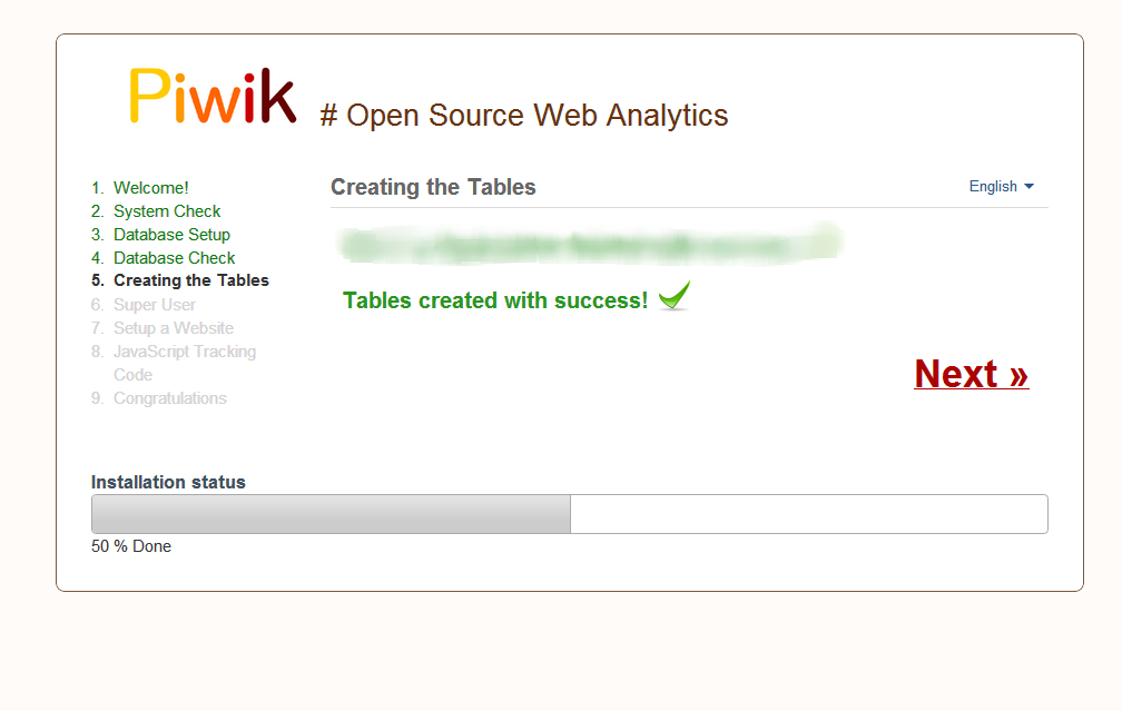 piwik database setup