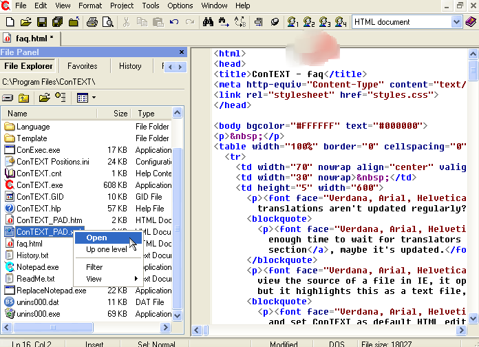 ConTEXT text editor screenshot
