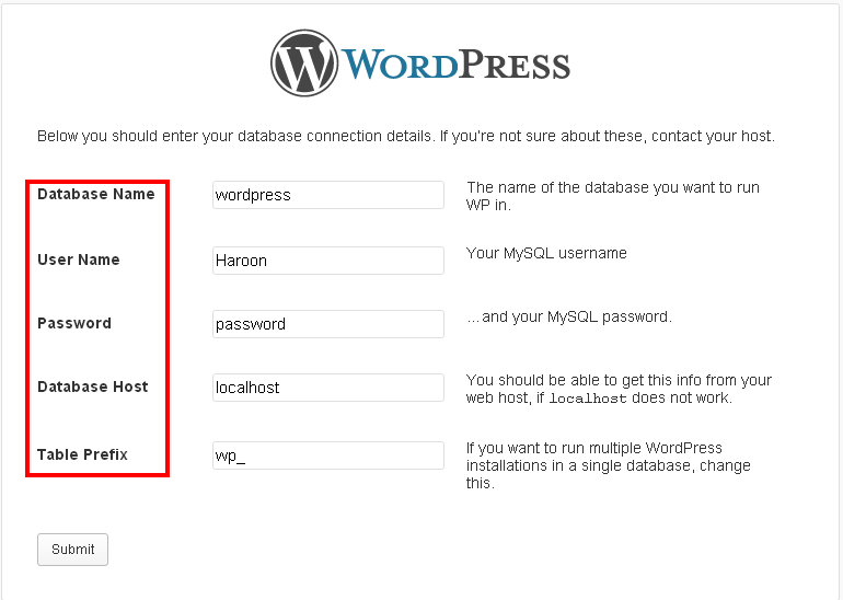 Database Configuration WordPress