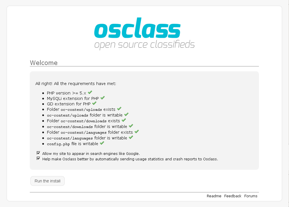 Osclass Open source classifieds script Installation