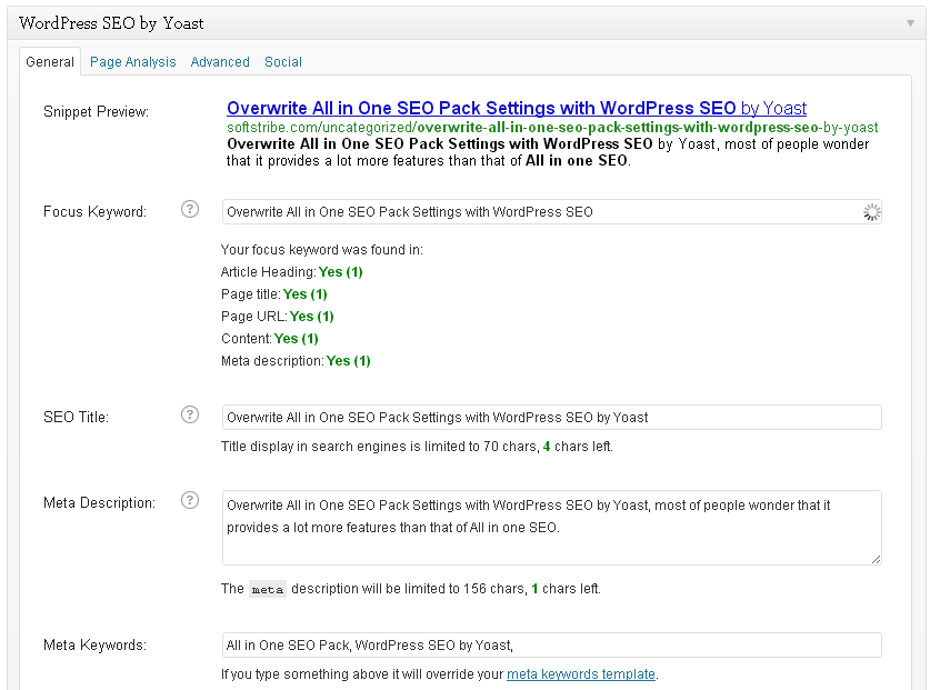Overwrite All in One SEO Pack Settings with WordPress SEO